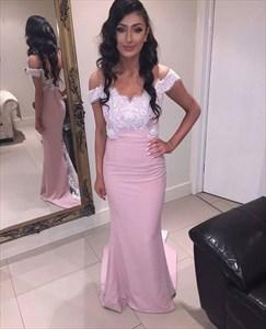 Pink Lace Applique Floor Length Off-The-Shoulder Elegant Dress