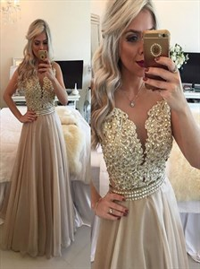Champagne Backless Beaded Illusion Lace Bodice Long Prom Gown