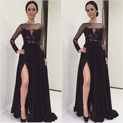 Black Sheer Long Sleeve Lace Bodice Prom Dress With Side Cutouts