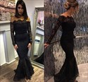 Black Off The Shoulder Lace Mermaid Prom Dress With Sleeves