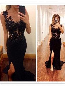 Black Lace Applique Mermaid Long Prom Dress With Side Cutouts