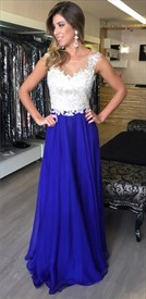 Two Tone Illusion Lace Top Chiffon Bottom Long Prom Dress