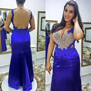 Royal Blue Beaded Floor Length Backless Sheath Prom Dress