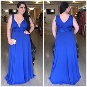 Royal Blue V Neck Lace Embellished Sleeveless Chiffon Prom Dress