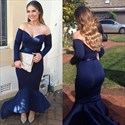 Navy Blue Mermaid Off The Shoulder Long Sleeve Tea Length Formal Dresses