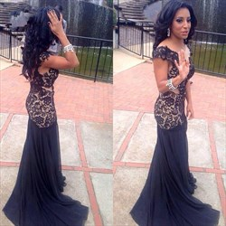 Navy Blue Lace Top Chiffon Bottom Floor Length Sheath Prom Dress