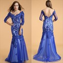 Royal Blue Lace Applique Sheer Long Sleeve Backless Prom Dress