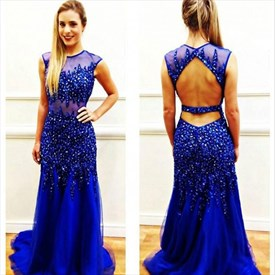 Royal Blue Sheer Illusion Neckline Beaded Embellished Prom Dress