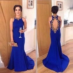 Royal Blue Open Back Jewel Embellished Sheath Long Prom Dress