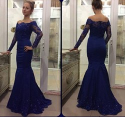 Royal Blue Off The Shoulder Embellished Lace Sleeve Mermaid Prom Dress