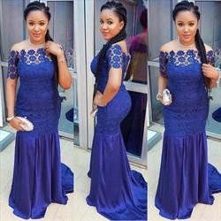 Royal Blue Off The Shoulder Lace Applique Short Sleeve Prom Dress