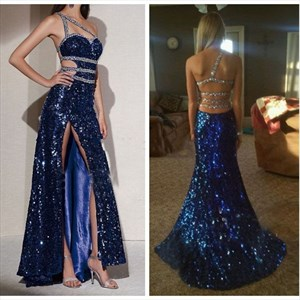Royal Blue One Shoulder Beaded Sequin Prom Dresses With Slits