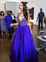 Royal Blue V Neck Lace Bodice Floor Length Ball Gown Prom Dress