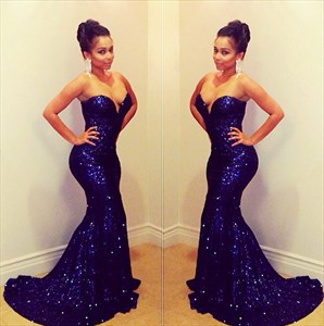 Navy Blue Strapless Sweetheart Sequin Mermaid Evening Gowns