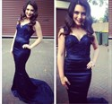 Navy Blue Long Sleeveless Lace Top Mermaid Formal Dress With Straps