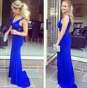 Royal Blue V Neck Lace Embellished Chiffon Sheath Prom Dress