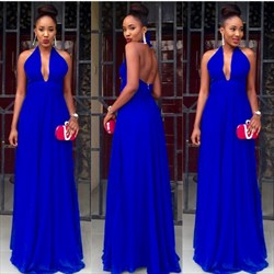 Royal Blue Halter Neck V Neck Backless A Line Long Prom Dress