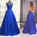 Royal Blue V Neck Spaghetti Strap Backless Ball Gown Prom Dress