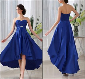 Royal Blue Strapless Empire Waist Beaded High Low Prom Dress