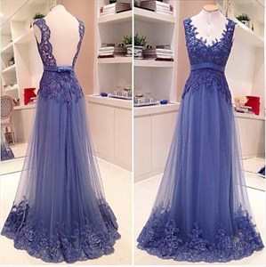Blue V Neck Open Back Tulle Formal Gown With Sheer Lace Applique