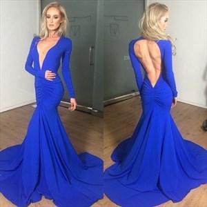 Royal Blue Long Sleeve Deep V Neck Ruched Mermaid Prom Dress