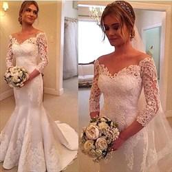 White V Neck Off The Shoulder Lace Mermaid Long Sleeve Wedding Dress