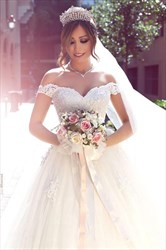 White Off The Shoulder Short Sleeve Lace Ball Gown Wedding Dress