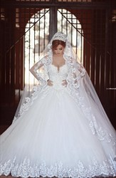 White Lace Sheer Long Sleeve Ball Gown Wedding Dress With Train