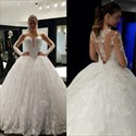 White Illusion Neckline Sheer Lace Long Sleeve Ball Gown Wedding Dress
