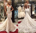 Ivory Backless Cap Sleeve Lace Mermaid Wedding Dress With Long Train