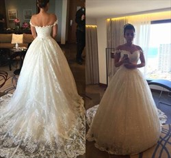 Ivory Beaded Off The Shoulder Ball Gown Wedding Dress With Train