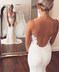 Illusion Neckline Backless Lace Applique Mermaid Wedding Dress