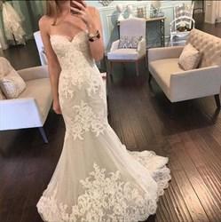 White Strapless Sweetheart Lace Embellished Mermaid Wedding Dress