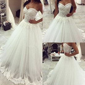 White Strapless Tulle Ball Gown Wedding Dress With Embellishments