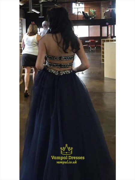 Navy Blue Strapless Beaded Princess Ball Gown Prom Dress
