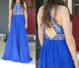Royal Blue Beaded Bodice Open Back A Line Long Prom Dress
