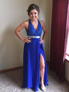 Royal Blue Backless Beaded A Line Halter Long Chiffon Prom Gown