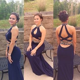 Navy Blue High Neck Beaded Bodice Backless Mermaid Prom Dress