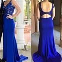 Royal Blue Lace Embellished Bodice Open Back Long Prom Dress