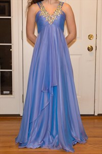 Blue Beaded V-Neck Empire Waist Long Chiffon Prom Dress