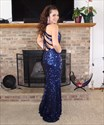 Navy Blue V-Neck Backless Sequin Long Prom Dress With Side Cutouts