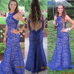 Royal Blue Sleeveless Open Back Lace Long Mermaid Prom Dress