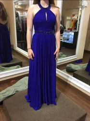 Royal Blue Halter Neck Beaded Open Back Chiffon Prom Dress