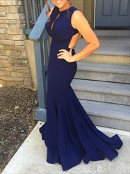 Navy Blue Backless Mermaid Long Prom Dress With Keyhole Front