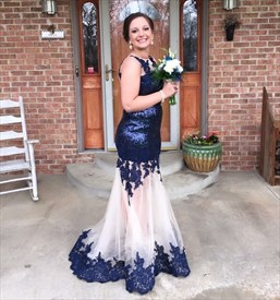 Navy Blue Sheer Illusion Neckline Embellished Mermaid Prom Dress