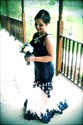 Navy Blue Sheer Illusion Neckline Embellished Mermaid Prom Dress