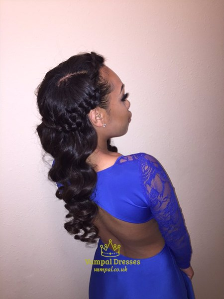 Royal Blue Lace Long Sleeve Mermaid Prom Dress With Open Back