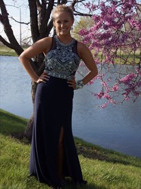 Navy Blue Sleeveless Beaded Long Chiffon Prom Dress With Side Cutouts