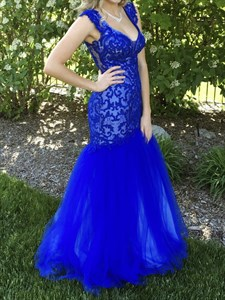 Royal Blue Lace Embellished Backless Mermaid Tulle Formal Gown