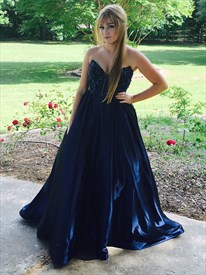 Navy Blue Strapless Beaded Bodice Floor Length Ball Gown Prom Dress